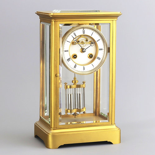 Gilt Four Glass Mantel Clock with Visible Escapement by Marti et Cie c1875