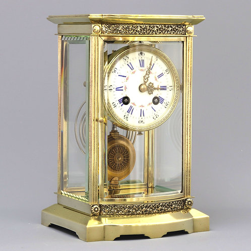 French Brass Bow Fronted Four Glass Mantel Clock c1880