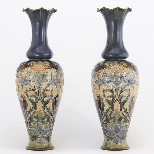 Pair of Tall Doulton Lambeth Art Nouveau Vases by Eliza Simmance