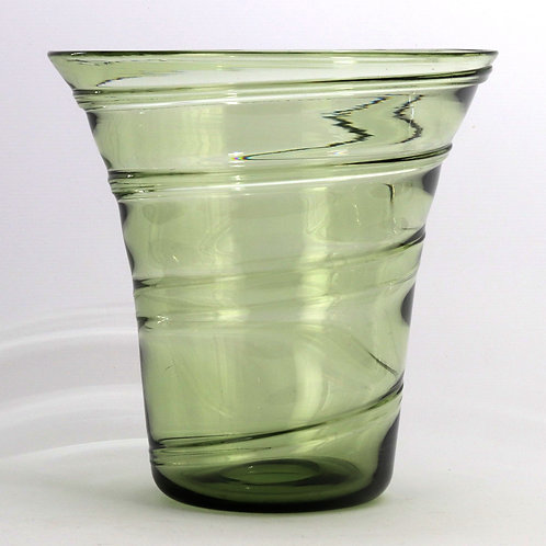 Large Powell & Sons Whitefriars Ribbon Trail Glass Vase c1930s