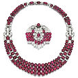 art_deco_ruby_and_diamond_necklace and brooch_cartier c1930
