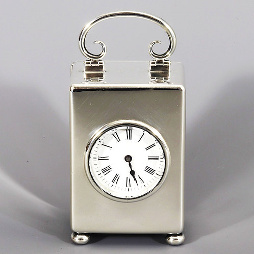 Miniature Silver Carriage Clock with Travel Case, William Comyns 1898