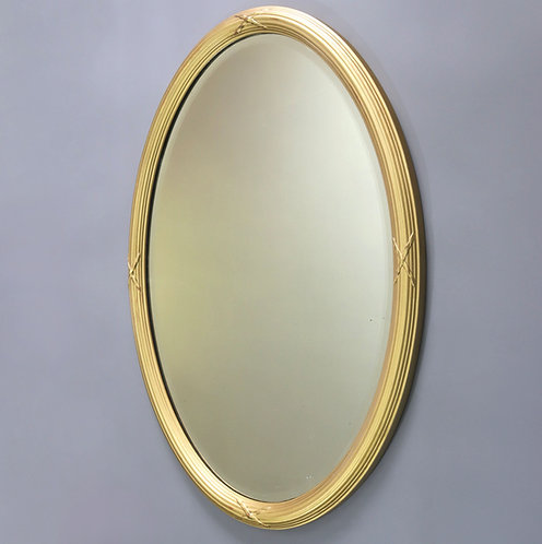Late 19th Century Gilt Oval Bevelled Mirror with Reeded Frame