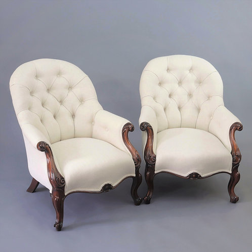 Pair of Victorian Rosewood Button-Back Armchairs c1850