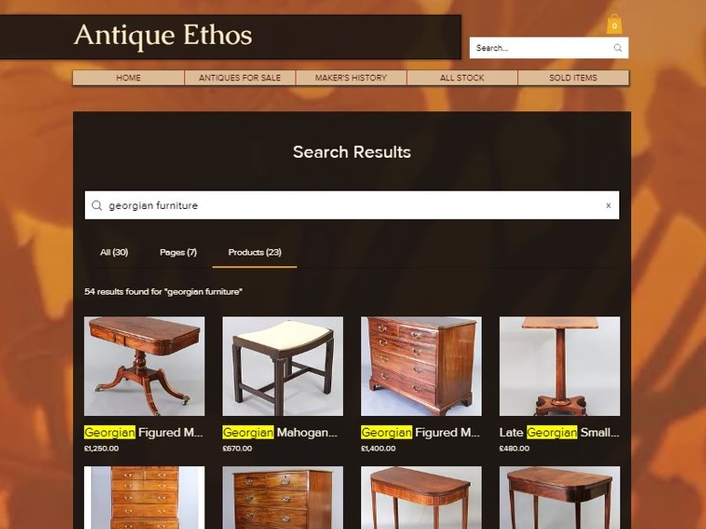New Site Search on Antique Ethos