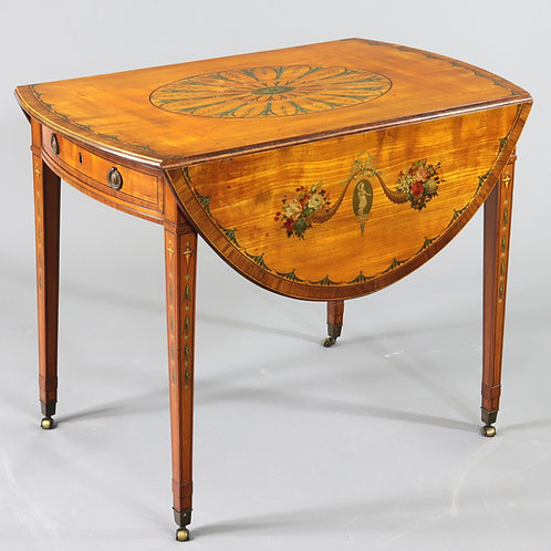 Satinwood and Kingwood Decorated Pembroke Table c1790