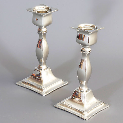 Pair of Antique Solid Silver Candlesticks