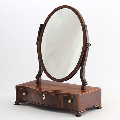 Serpentine Fronted Mahogany Dressing Table Mirror c1790