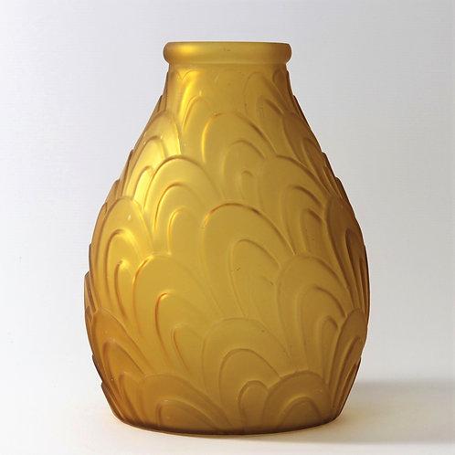 Large Art Deco Glass Vase Sars France c1925