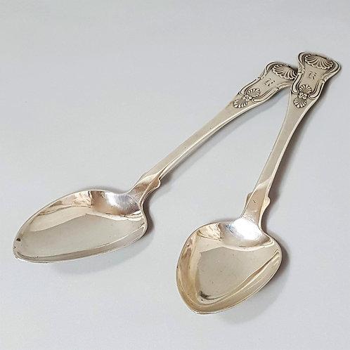 Pair of Kings Pattern Scottish Georgian Silver Serving Spoons 1825