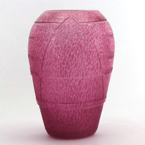 Degue Art Deco Cut and Etched Glass Vase c.1930