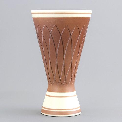 Mid-Century Poole Pottery Freeform Vase Shape 714 in PRB Pattern c1953