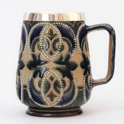 Doulton Lambeth Stoneware 1880 Mug with Silver Mount 1881