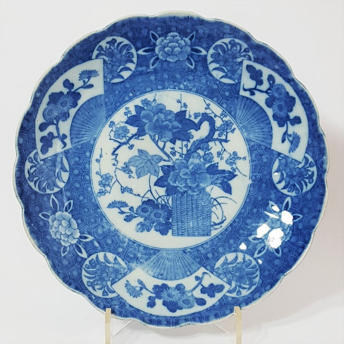 Japanese Imari Blue and White Charger c1895