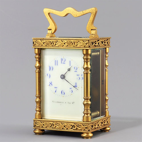Gilt Carriage Clock by Duverdrey & Bloquel signed Collingwood & Son
