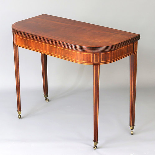 Georgian Mahogany and Inlaid Fold-Over Tea Table c1810