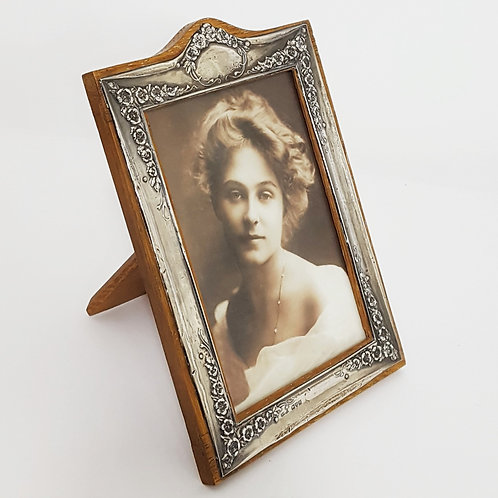 Silver Rectangular Repousse Decorated Photo Frame 1922
