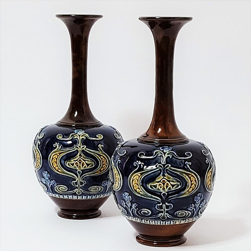 Pair of Doulton Lambeth Vases c1890