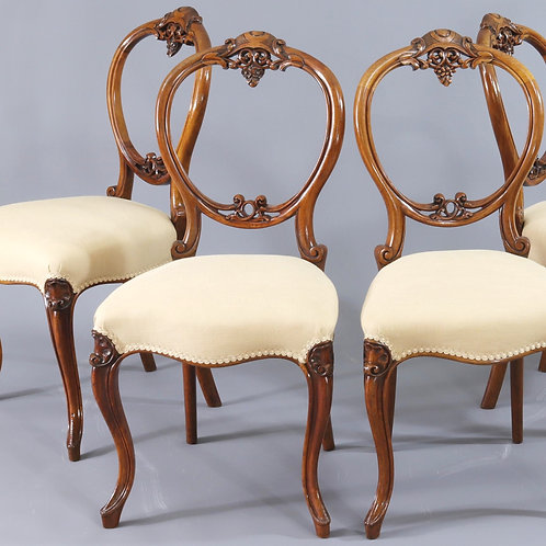 Set of Four Carved Walnut Balloon Back Dining Chairs c1845