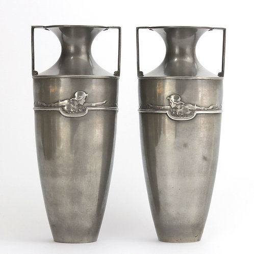Pair of Art Nouveau Pewter Vases by William Hutton c1910