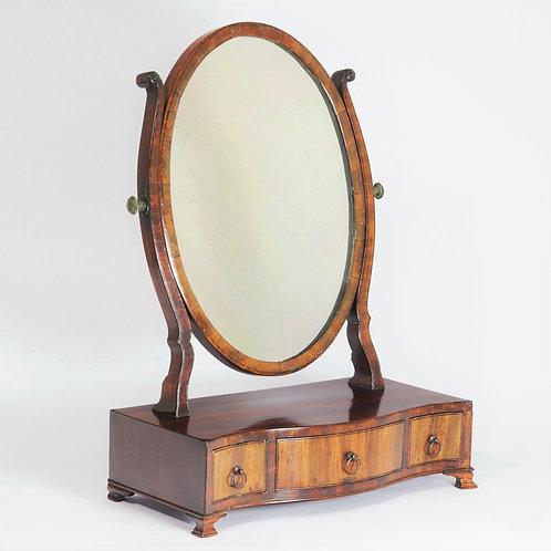 Antique Georgian Serpentine Mahogany Ladies Toilet Mirror