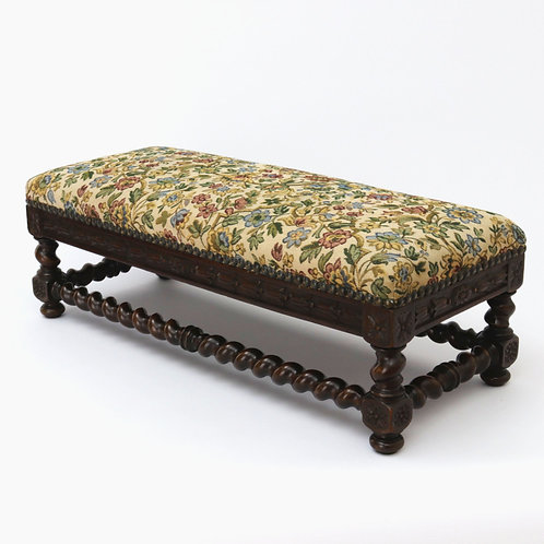 Late Victorian Mahogany Barley Twist Footstool for sale
