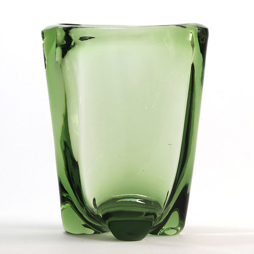 Whitefriars Lobed Sea Green Glass Vase by James Hogan
