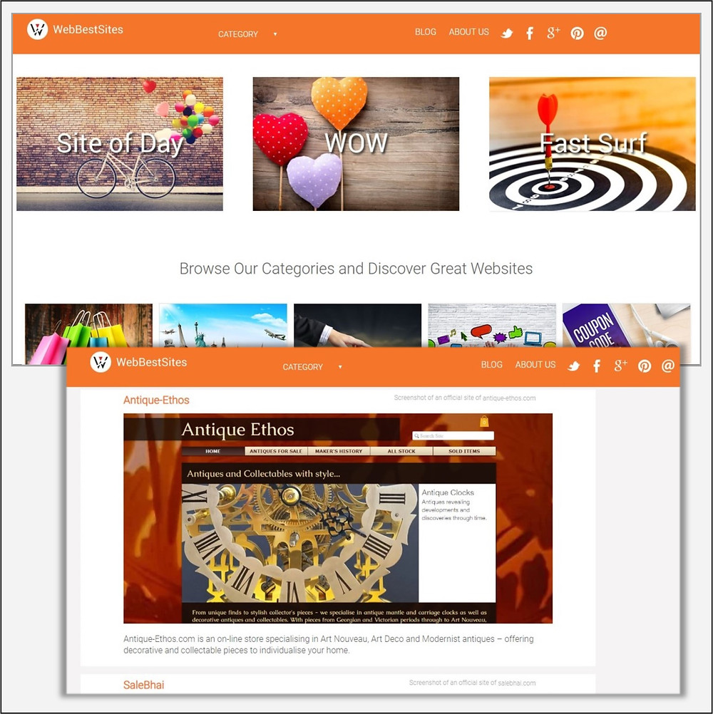 Webbestsites homepage and antiques category