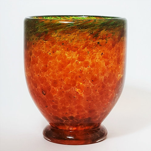 Monart Glass Footed Art Vase with Aventurine c1930