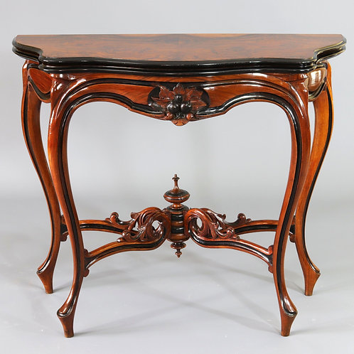 French Burr Walnut Serpentine Foldover Card Table c1870