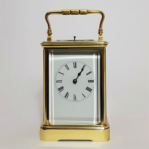 French Brass Corniche Cased Striking Repeating Carriage Clock