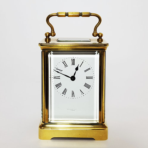 French Brass Corniche Cased Carriage Clock signed Wallace Allan, Paris c.1890