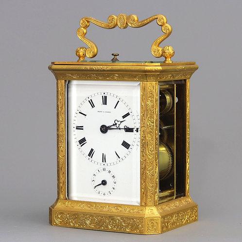 Gilt Engraved Striking Carriage Clock Signed Dent A Paris