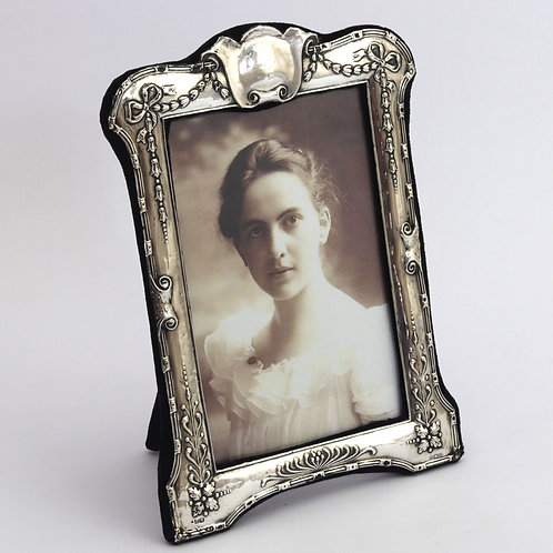 Shaped Repousse Decorated Silver Photo Frame by Henry Matthews 1915
