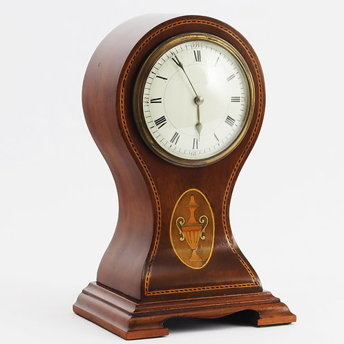 Antique Mahogany Balloon Mantle Clock by Duverdrey & Bloquel