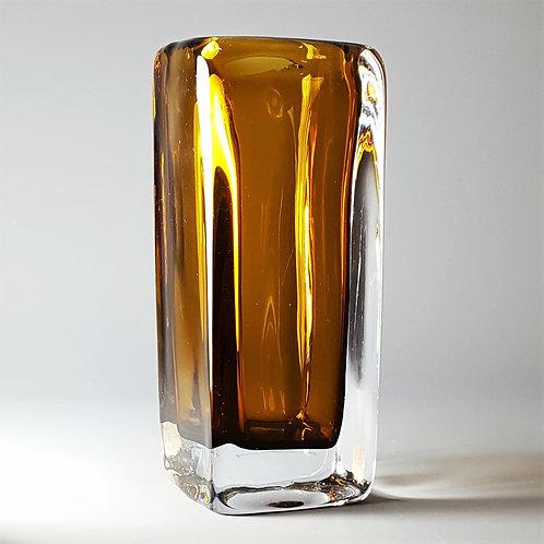 Vicke Lindstrand for Kosta Boda Amber Cased Glass Vase c1960's