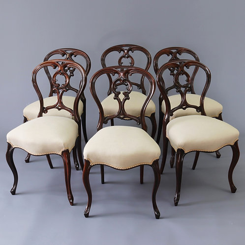 Fine Set of Antique Rosewood Balloon Back Chairs