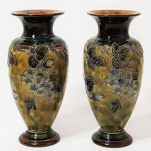 Pair of Royal Doulton Stoneware Vases by Florence Roberts c1910