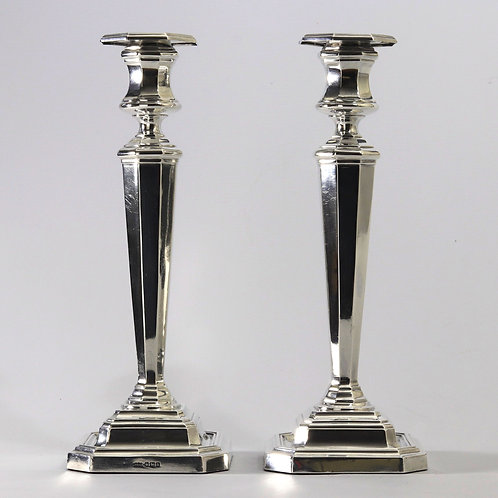 Pair of Classical Style Silver Candlesticks by James Dixon & Sons Sheffield 1918