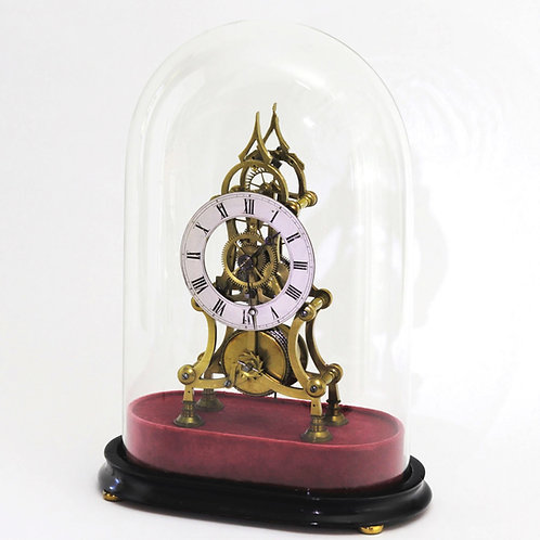 Victorian Skeleton Mantel Clock With Dome c1870