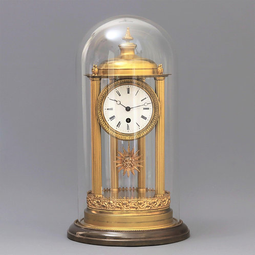 19th Century French Glass Domed Mantle Clock by Pons