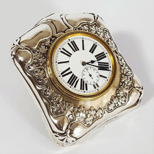 Art Nouveau Silver Framed Easel Travel Clock 1900
