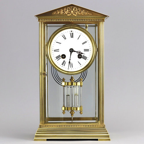 Four Glass Brass Mantle Clock by Couaillet Freres c.1895