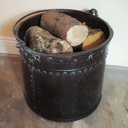Age Patinated Antique Copper Log Bucket 19th C