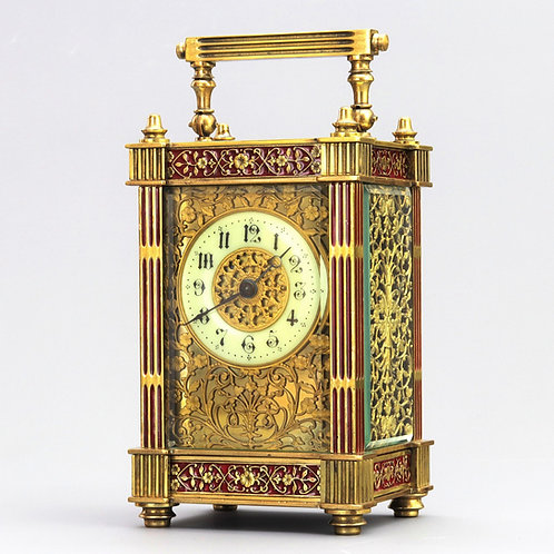 Antique Gilt Filigree and Enamel Brass French Carriage Clock c1905