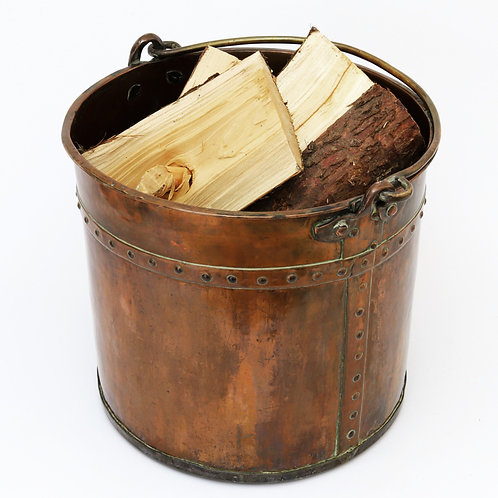 Antique Swing Handled Copper Log Bucket