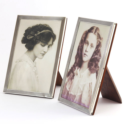 Pair Engine Turned Silver Photo Frames by Sanders & Mackenzie Birmingham 1927