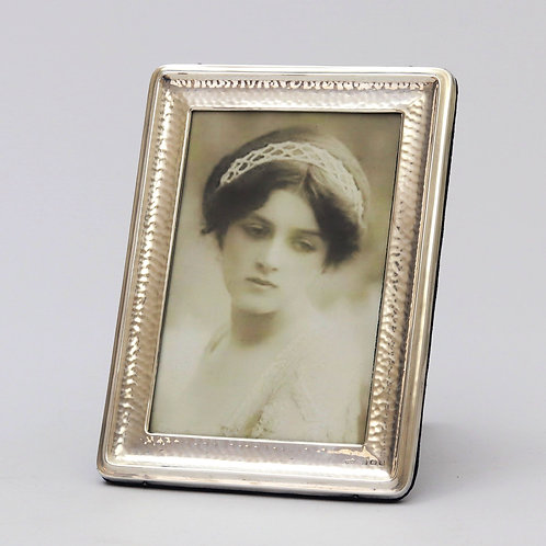 Arts & Crafts Planished Silver Photograph Frame by A&J Zimmerman 1909