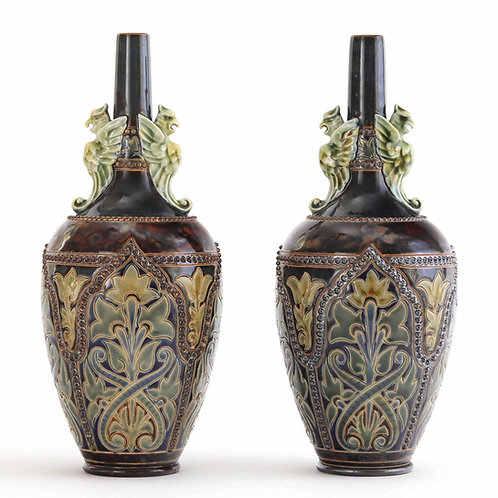 Pair of Doulton Lambeth Vases With Applied Griffins by Frank Butler c1885