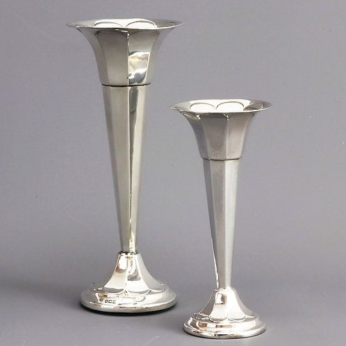 Antique Pair of Silver Posy Vases by James Deakin
